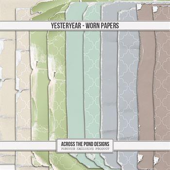 Yesteryear - Worn Papers Digital Art - Digital Scrapbooking Kits