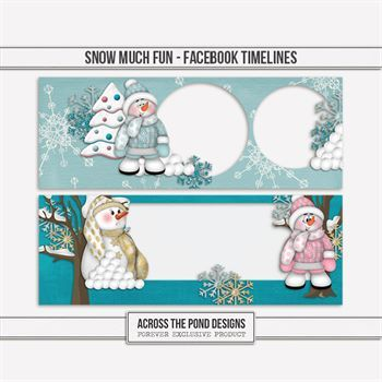 Snow Much Fun - Facebook Timelines Digital Art - Digital Scrapbooking Kits