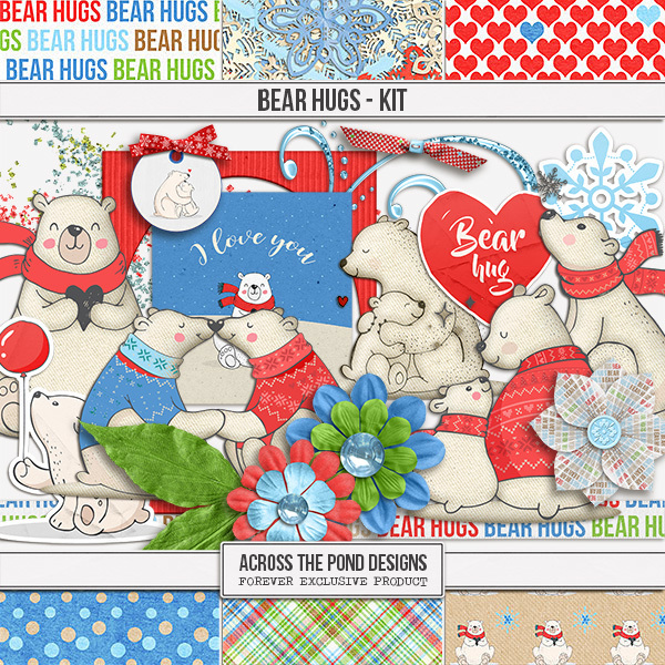 Bear Hugs - Page Kit Digital Art - Digital Scrapbooking Kits