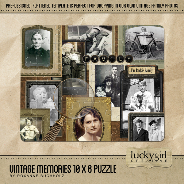Vintage Memories 10 X 8 Puzzle Digital Art - Digital Scrapbooking Kits
