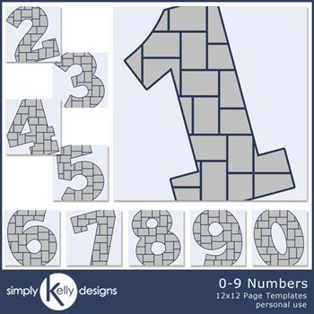 0 - 9 Numbers 12x12 Page Template Set