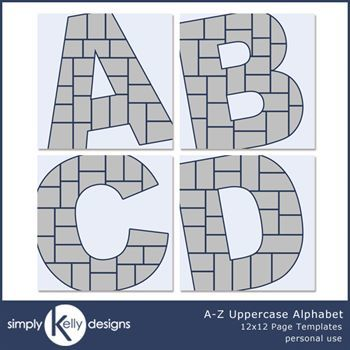 A - Z Uppercase Alphabet 12x12 Page Template Set