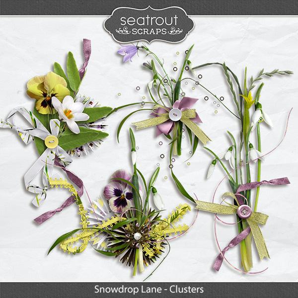 Snowdrop Lane Clusters Digital Art - Digital Scrapbooking Kits