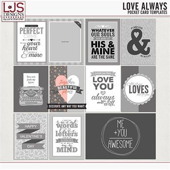 Love Always - Pocket Card Templates Digital Art - Digital Scrapbooking Kits