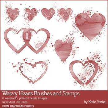Watery Hearts Brushes And Stamps