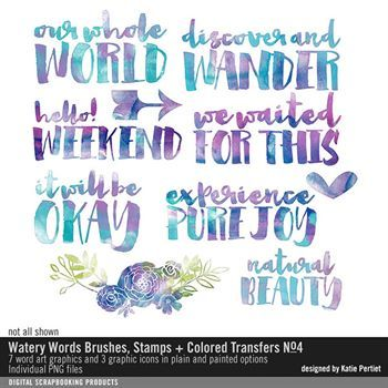 Watery Words Colored Transfers And Bonus Brushes No. 04