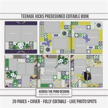 Teenage Kicks Predesigned Editable Book Digital Art - Digital Scrapbooking Kits