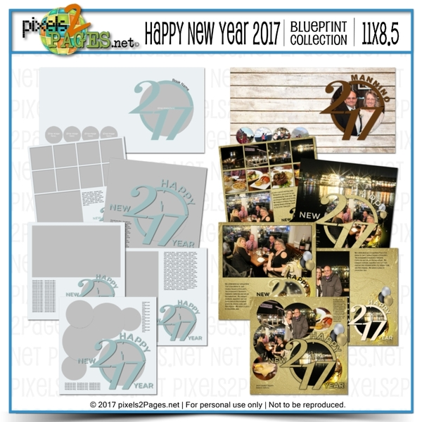 11x8.5 Happy New Year 2017 Blueprint Collection