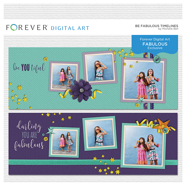Be Fabulous Timelines Digital Art - Digital Scrapbooking Kits