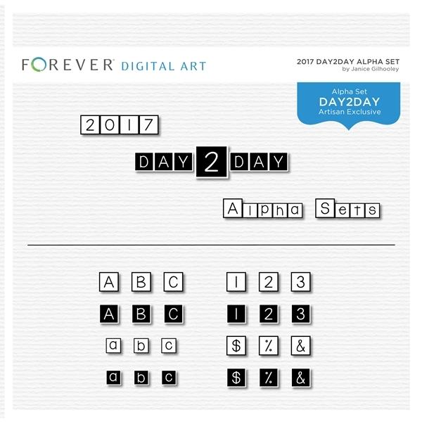 Day2Day Alpha Sets Digital Art - Digital Scrapbooking Kits