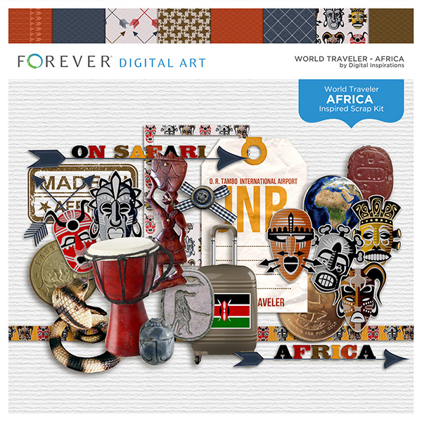 World Traveler - Africa Digital Art - Digital Scrapbooking Kits