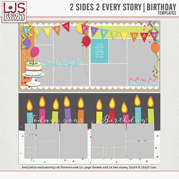 2 Sides 2 Every Story - Birthday Digital Art - Digital Scrapbooking Kits