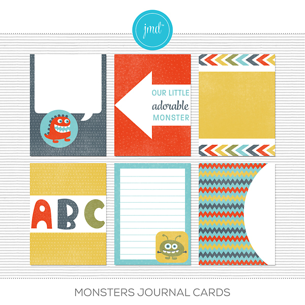 Monsters Journal Cards Digital Art - Digital Scrapbooking Kits