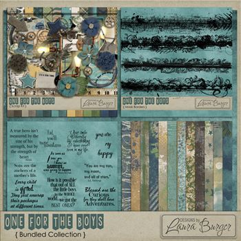 One For The Boys Bundle Digital Art - Digital Scrapbooking Kits