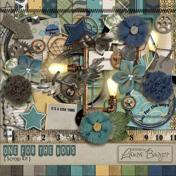 One For The Boys Scrap Kit Digital Art - Digital Scrapbooking Kits