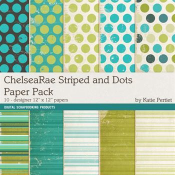 Chelsearae Stripes And Dots Paper Pack Digital Art - Digital Scrapbooking Kits