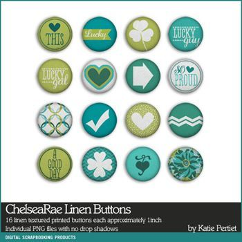Chelsearae Linen Buttons Digital Art - Digital Scrapbooking Kits