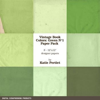 Vintage Book Colors Greens Paper Pack