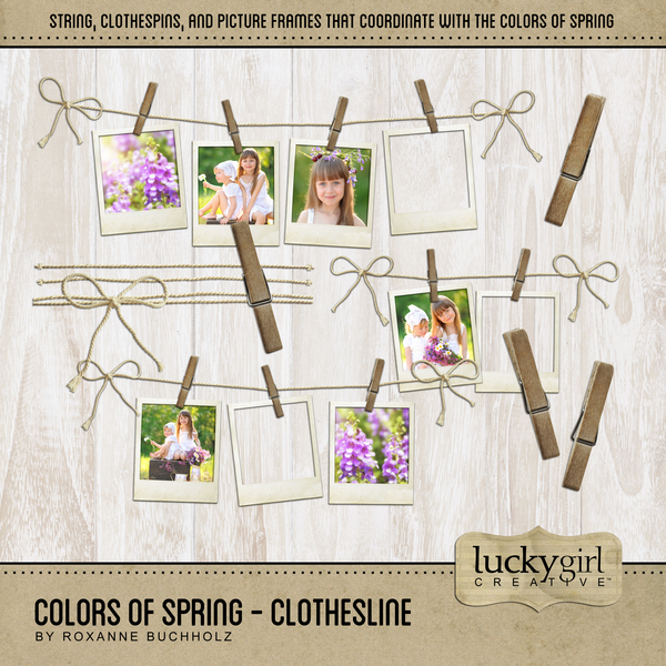 Colors Of Spring - Clothesline Digital Art - Digital Scrapbooking Kits