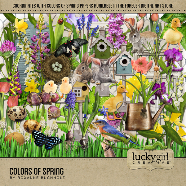 Colors Of Spring Digital Art - Digital Scrapbooking Kits
