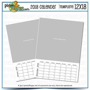 2018 12x18 Blank Calendar Template