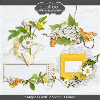 It Might As Well Be Spring Clusters Digital Art - Digital Scrapbooking Kits