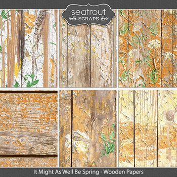 It Might As Well Be Spring Wooden Papers Digital Art - Digital Scrapbooking Kits