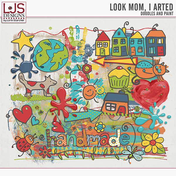 Look Mom, I Arted - Doodles And Paint Digital Art - Digital Scrapbooking Kits