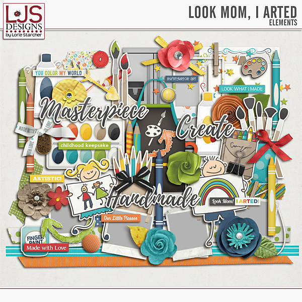 Look Mom, I Arted - Elements Digital Art - Digital Scrapbooking Kits