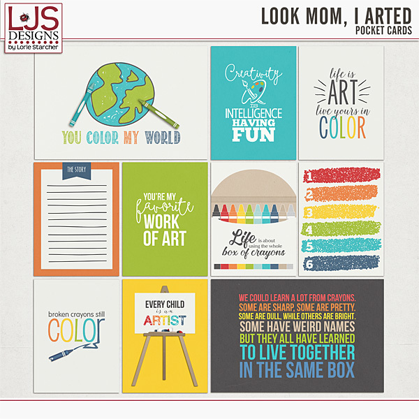 Look Mom, I Arted - Pocket Cards Digital Art - Digital Scrapbooking Kits