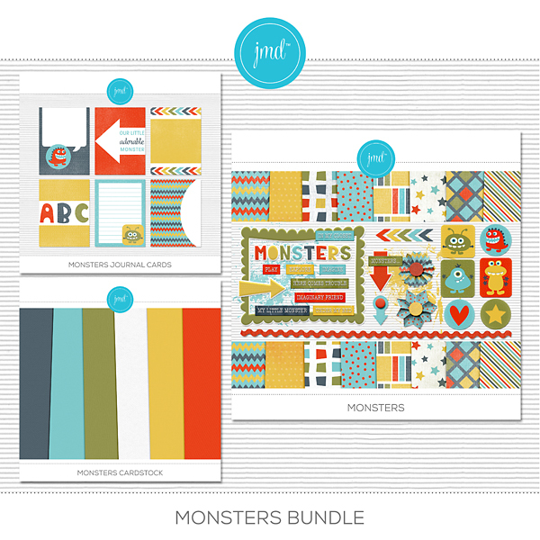Monsters Bundle Digital Art - Digital Scrapbooking Kits