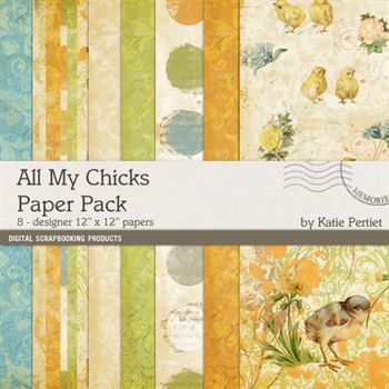 All My Chicks Paper Pack Digital Art - Digital Scrapbooking Kits