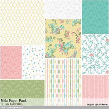 Mila Paper Pack Digital Art - Digital Scrapbooking Kits