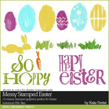 Messy Stamped Easter Brushes And Stamps Digital Art - Digital Scrapbooking Kits