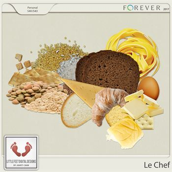Le Chef Breads, Grains, Cheese, Dairy And Pasta Digital Art - Digital Scrapbooking Kits