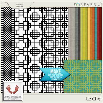 Le Chef Overlays & Linen Paper Digital Art - Digital Scrapbooking Kits