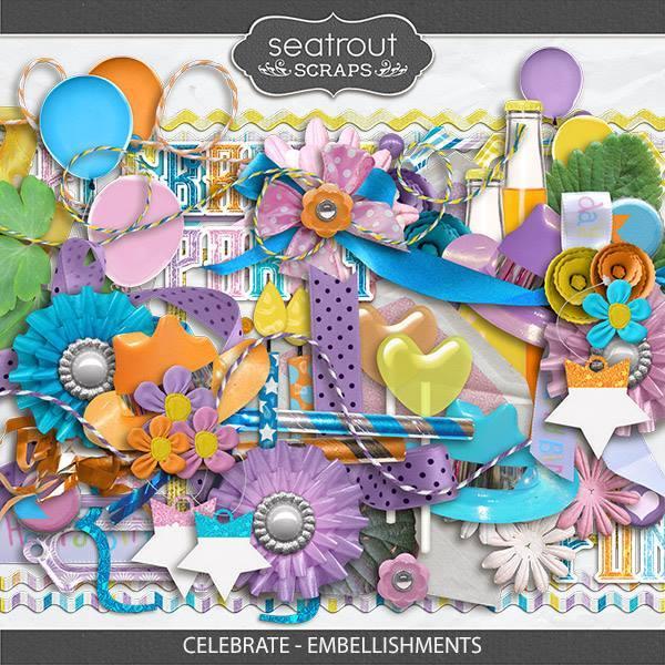 Celebrate - Embellishments Digital Art - Digital Scrapbooking Kits