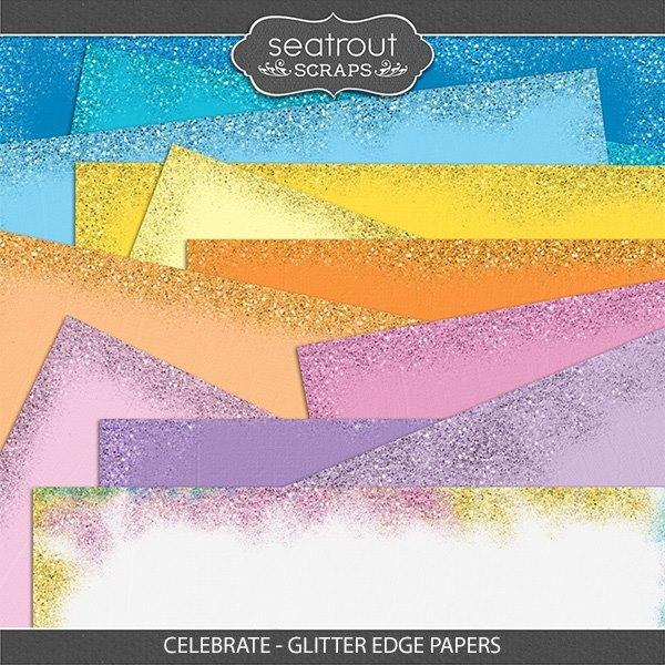 Celebrate - Glitter Edge Papers Digital Art - Digital Scrapbooking Kits