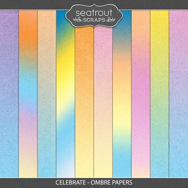 Celebrate - Ombre Papers Digital Art - Digital Scrapbooking Kits