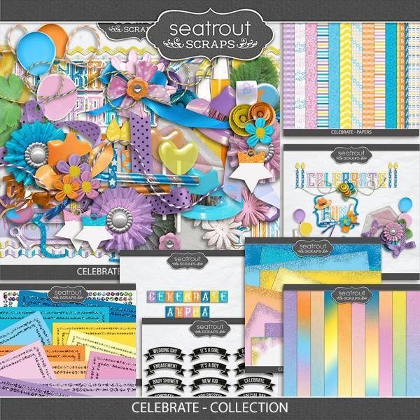 Celebrate Discounted Bundle Digital Art - Digital Scrapbooking Kits