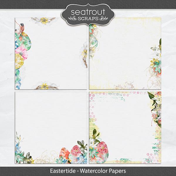 Eastertide - Watercolor Papers Digital Art - Digital Scrapbooking Kits