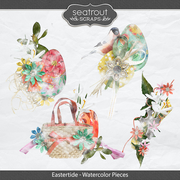 Eastertide - Watercolor Pieces Digital Art - Digital Scrapbooking Kits