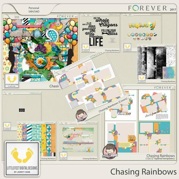 Chasing Rainbows Bundle Digital Art - Digital Scrapbooking Kits