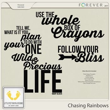 Chasing Rainbows Word Art Digital Art - Digital Scrapbooking Kits