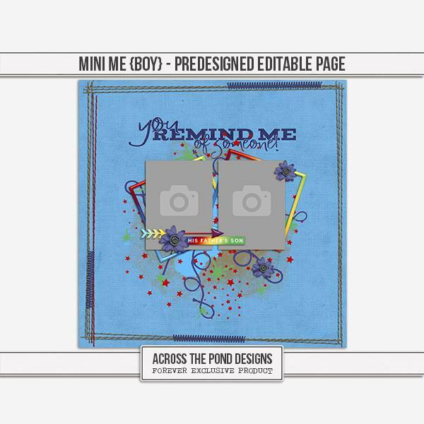 Mini Me - Boy Predesigned Editable Page Digital Art - Digital Scrapbooking Kits