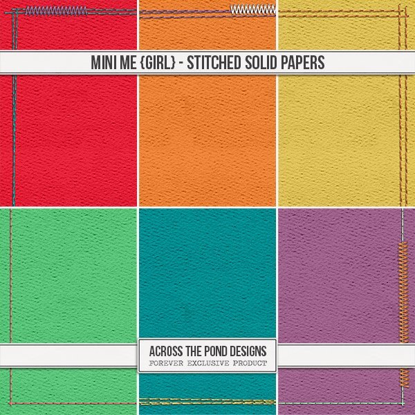 Mini Me - Girl Stitched Solid Papers Digital Art - Digital Scrapbooking Kits