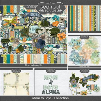 Mom To Boys Discounted Bundle Digital Art - Digital Scrapbooking Kits