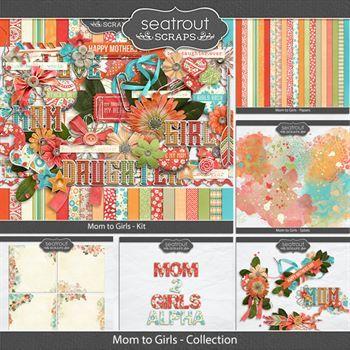 Mom To Girls Discounted Bundle Digital Art - Digital Scrapbooking Kits