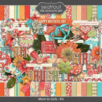 Mom To Girls Kit Digital Art - Digital Scrapbooking Kits