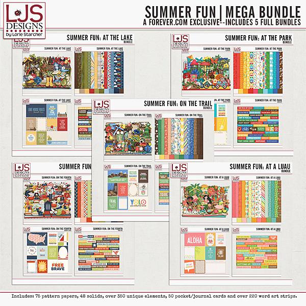 Summer Fun - Mega Bundle Digital Art - Digital Scrapbooking Kits